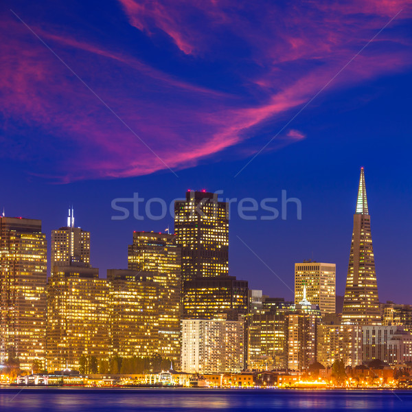 サンフランシスコ 日没 スカイライン カリフォルニア 水 反射 ストックフォト © lunamarina