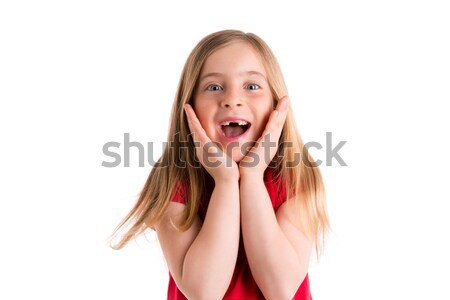 blond indented girl surprised gesture hands in face Stock photo © lunamarina