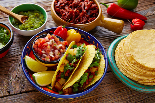 Tacos al pastor Mexican with coriander pineapple Stock photo © lunamarina