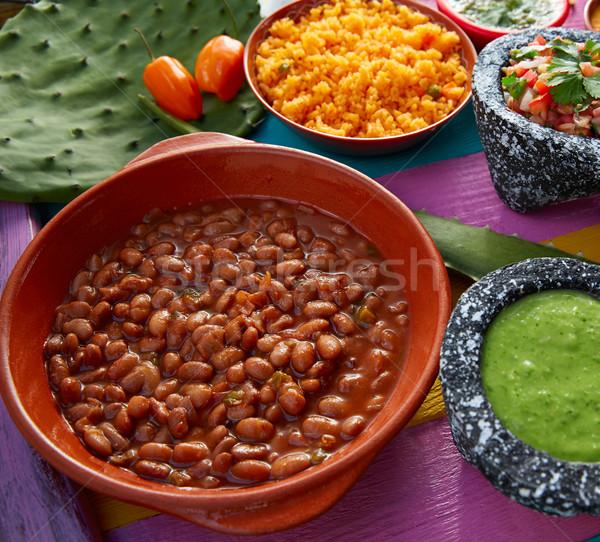 ストックフォト: メキシコ料理 · 豆 · コメ · レストラン · プレート · トマト