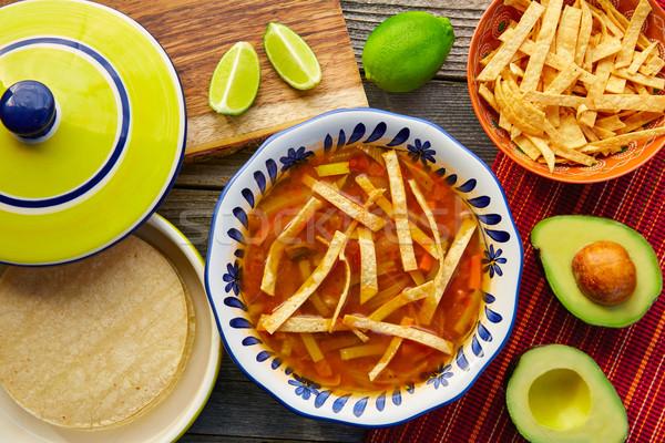 Mexicaanse tortilla soep kleurrijk Mexico voedsel Stockfoto © lunamarina