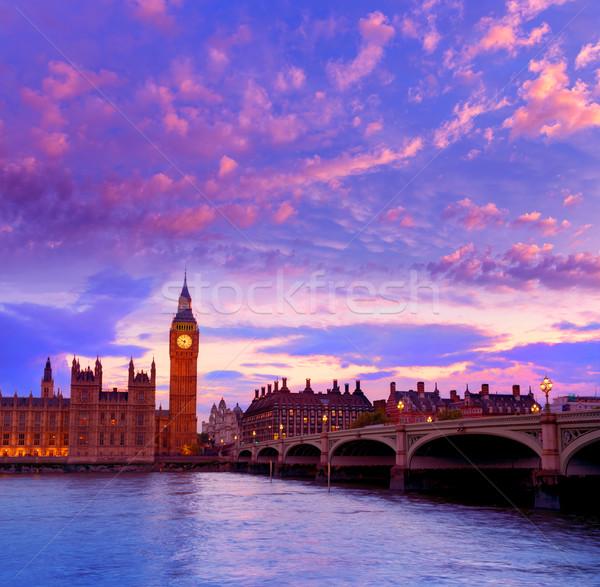 Big Ben óra torony London Temze folyó Stock fotó © lunamarina
