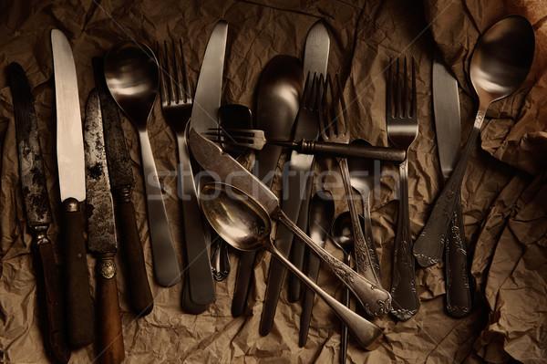 カトラリー 銀食器 ヴィンテージ さびた 2番目の ストックフォト © lunamarina