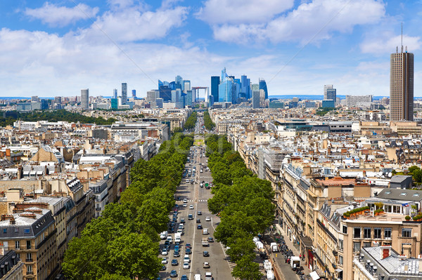 Paris skyline Champs Elysees and La Defense Stock photo © lunamarina