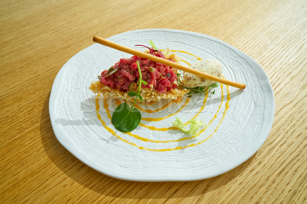 Steak Tartare with mustard ice-cream Stock photo © lunamarina