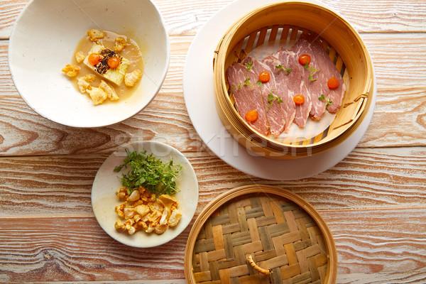 Domuz eti jambon sos lahana güveç gıda Stok fotoğraf © lunamarina
