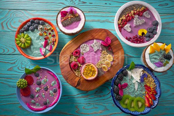 Stock photo: Acai bowl smoothie and Spirulina algae with berries