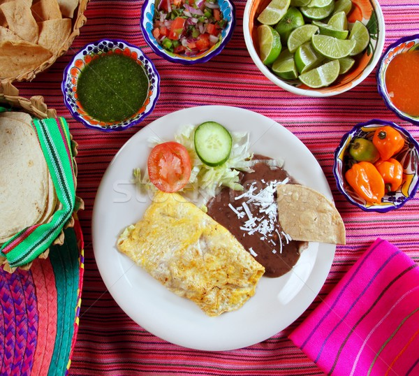 breakfast in mexico omelette eggs with chili sauce Stock photo © lunamarina