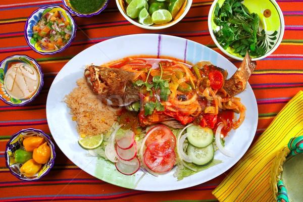Veracruzana style grouper fish mexican seafood chili Stock photo © lunamarina