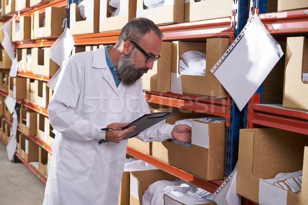 Raktár felügyelő férfi divat gyár menedzser Stock fotó © lunamarina