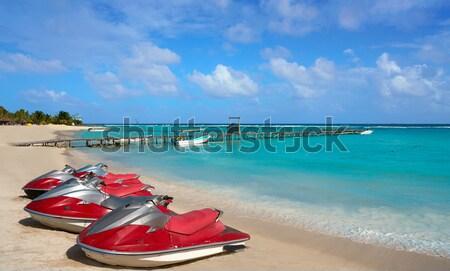 Foto stock: Caribbean · praia · turquesa · mar · verde · céu