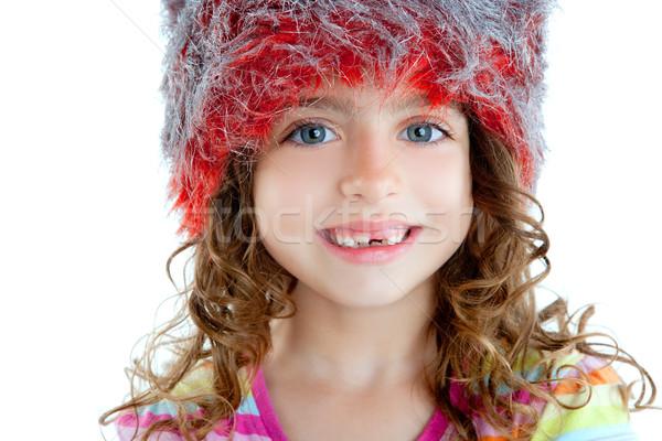 Gyerekek kislány tél szőr sapka narancs Stock fotó © lunamarina