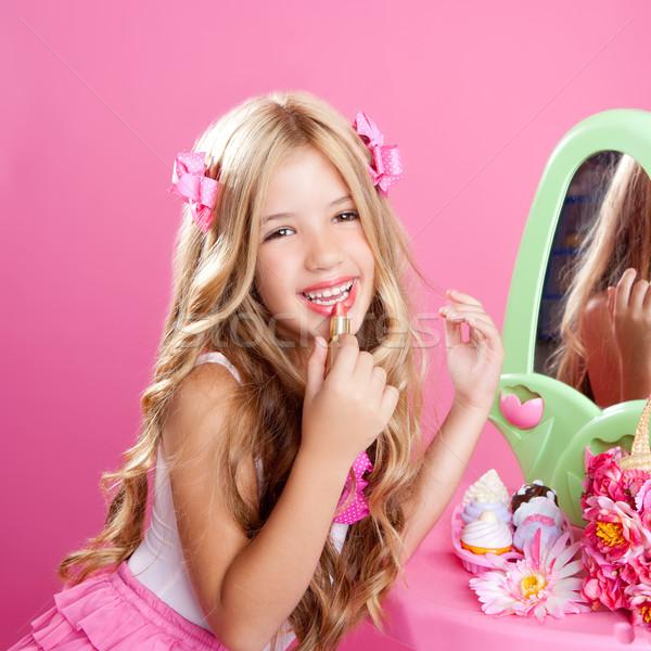 çocuklar moda bebek küçük kız ruj makyaj Stok fotoğraf © lunamarina