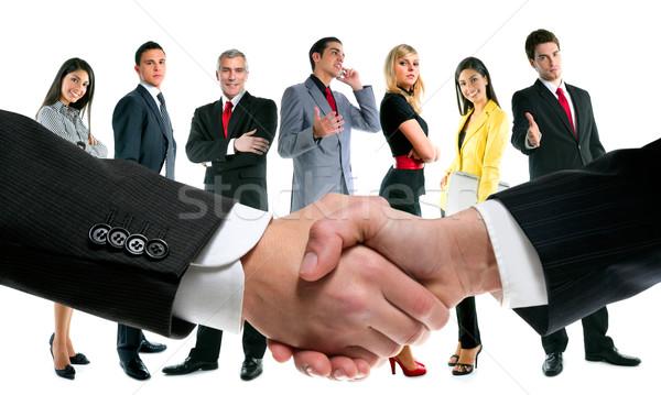 Foto stock: Gente · de · negocios · apretón · de · manos · empresa · equipo · oficina · mujeres