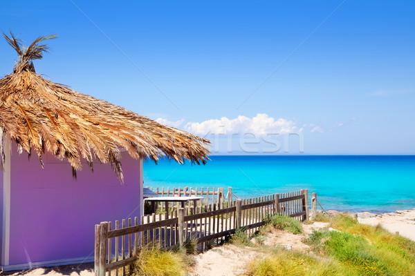 Tropische paars hut turkoois strand wit zand Stockfoto © lunamarina
