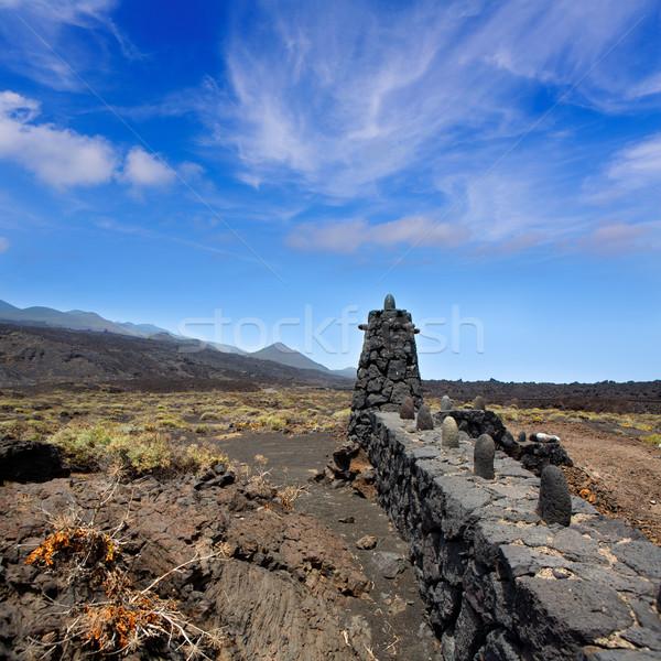 ラ 溶岩 石 フェンス 列 ストックフォト © lunamarina
