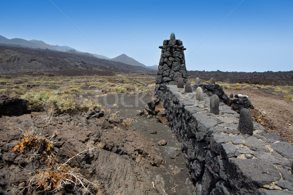 La Palma lava stone fence column in Fuencaliente Stock photo © lunamarina