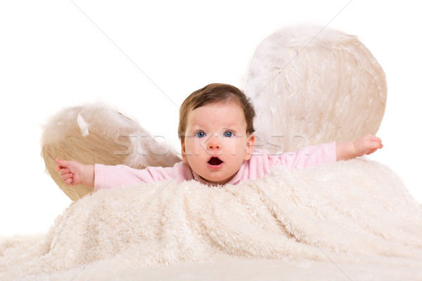 baby girl angel with feather white wings Stock photo © lunamarina
