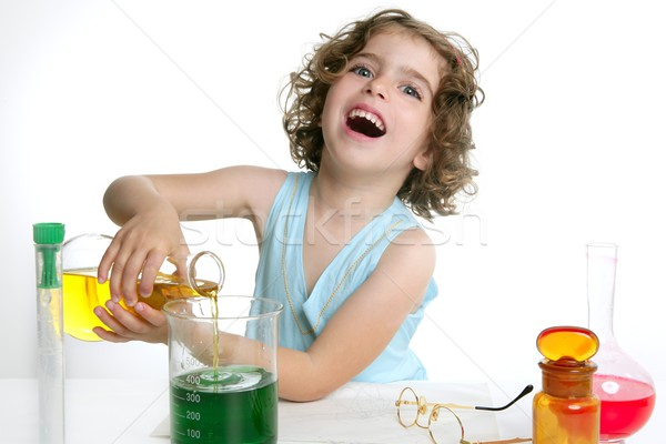 Beautiful chemistry little girl playing in lab Stock photo © lunamarina