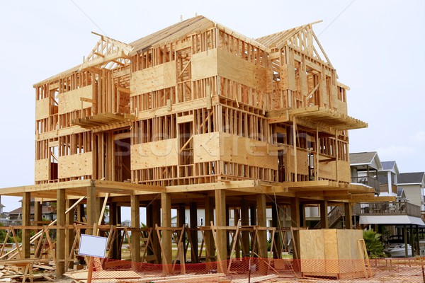 Wood house contruction, american wooden structure Stock photo © lunamarina