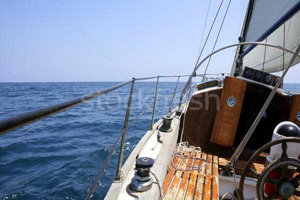 Sailing with an old sailboat over mediterranean sea Stock photo © lunamarina