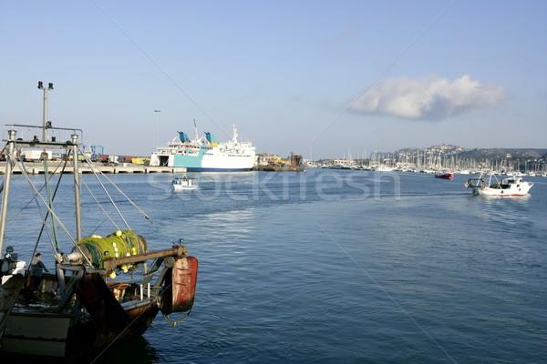 Fisherman and cargo harbor in Mediterranean Stock photo © lunamarina