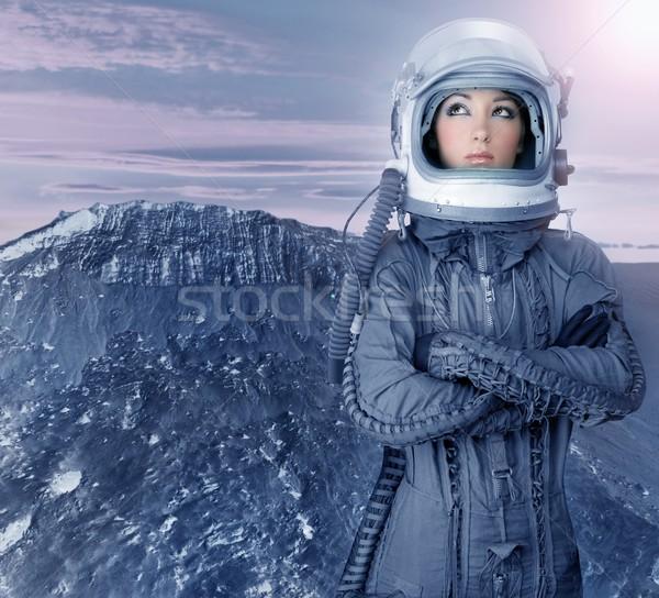 astronaut woman futuristic moon space planets Stock photo © lunamarina