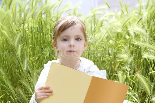 little blond girl reading book green spikes garden Stock photo © lunamarina