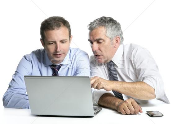 Szakértelem üzletember csapat dolgozik számítógép laptop számítógép Stock fotó © lunamarina