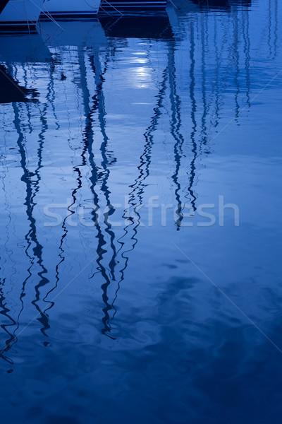 Blauw water reflectie zeilboten boten golven Stockfoto © lunamarina