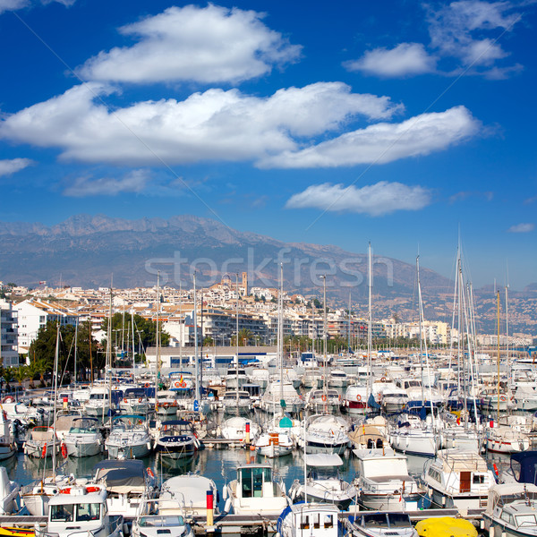 Altea village in alicante with marina boats foreground Stock photo © lunamarina