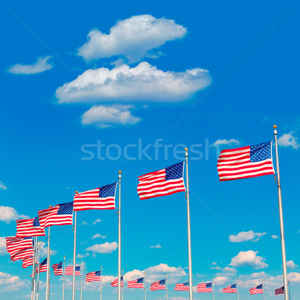 Stockfoto: Washington · Monument · vlaggen · USA · wijk · stad · Blauw