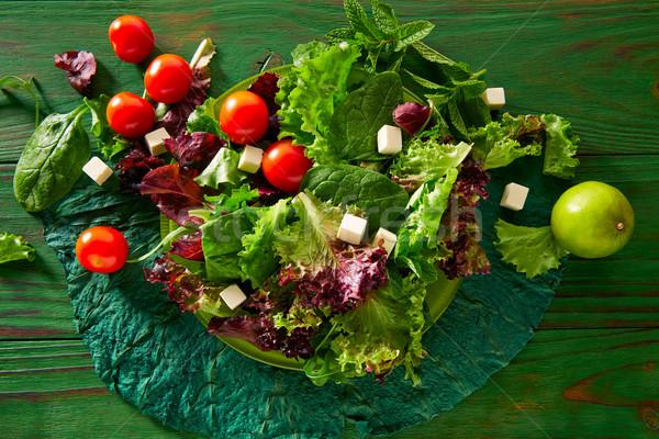 新鮮な 緑 サラダ ほうれん草 レタス トマト ストックフォト © lunamarina