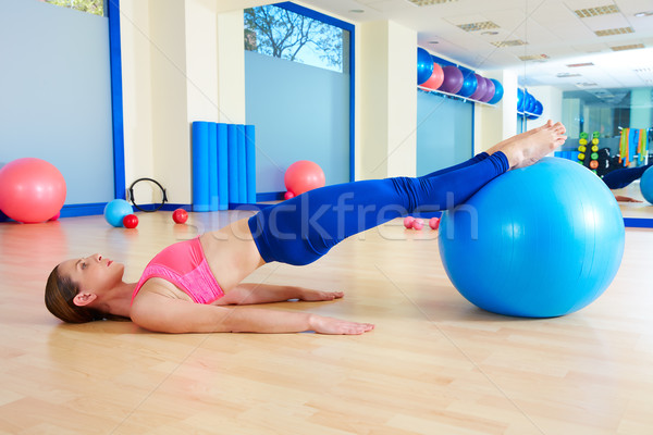 Pilates woman pelvic lift fitball exercise workout Stock photo © lunamarina