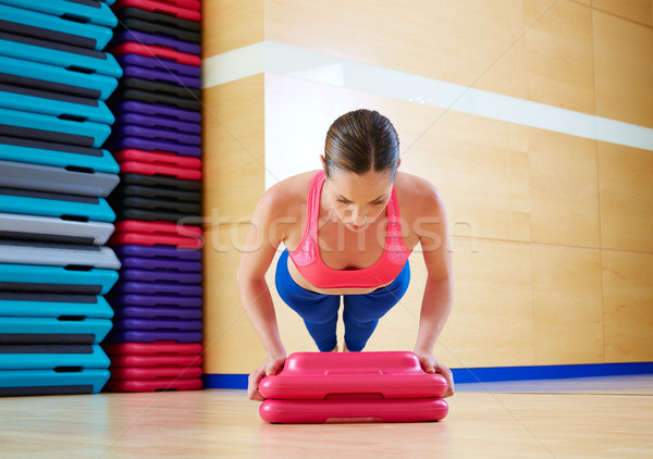 Push up push-ups woman exercise workout Stock photo © lunamarina