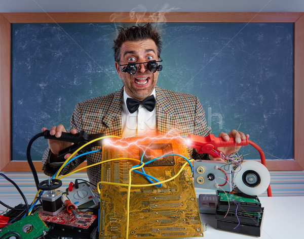 Nerd electronics technician short circuit lightning Stock photo © lunamarina