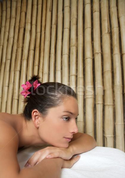 Bellezza terapia bella donna bambù bella profilo Foto d'archivio © lunamarina