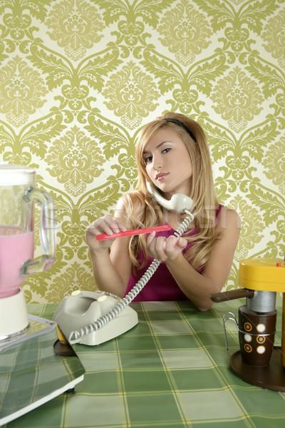 Housewife retro vintage talking phone nail file Stock photo © lunamarina