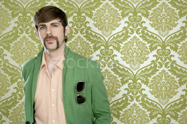 Stock photo: eccentric retro mustache geek man salesperson