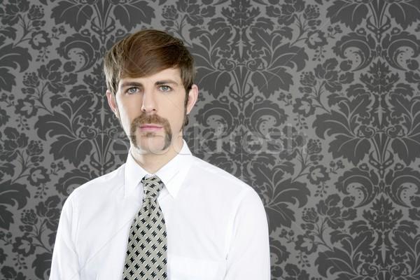 üzletember retro bajusz szürke tapéta nyakkendő Stock fotó © lunamarina
