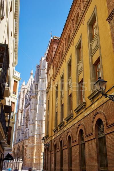 Leon way of Saint James to Cathedral Spain Stock photo © lunamarina