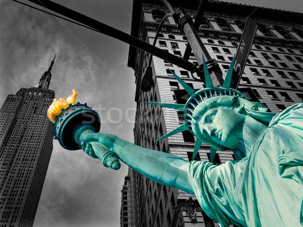 Liberty Statue and Empire State New York Stock photo © lunamarina