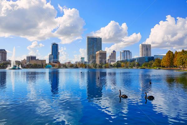 Stock fotó: Orlando · sziluett · tó · Florida · USA · város