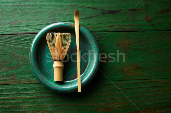 Tea bambusz habaró kanál japán szertartás Stock fotó © lunamarina