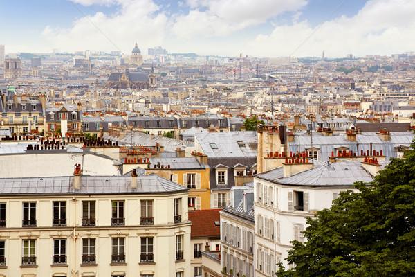 Párizs sziluett légi Montmartre Franciaország épület Stock fotó © lunamarina