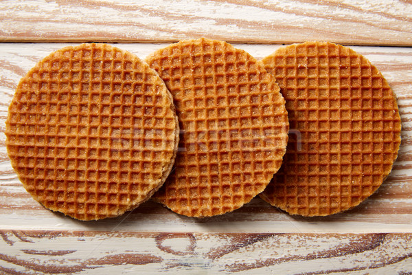 Golden Waffle wafer biscuits in a row Stock photo © lunamarina