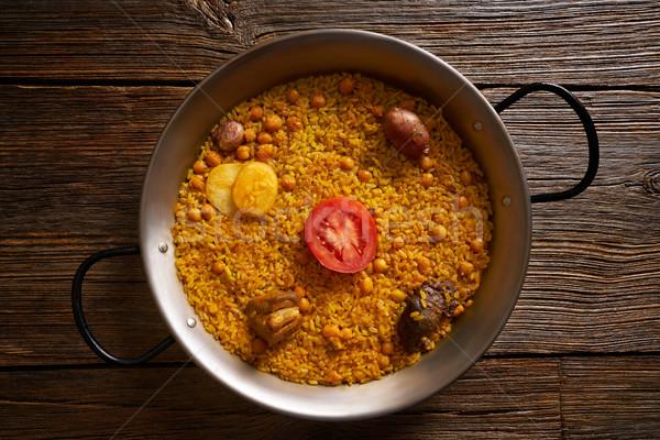 Stockfoto: Gebakken · rijst · recept · twee · voedsel · kip