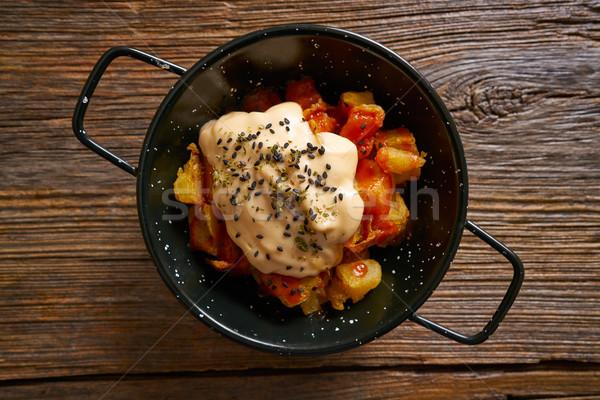 Stok fotoğraf: Tapas · patates · sos · tablo · plaka