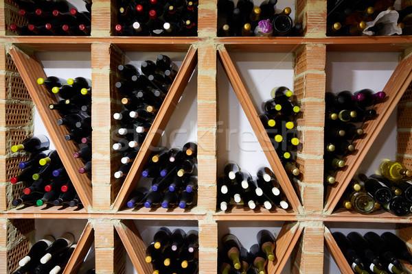 Borospince mediterrán üvegek egymásra pakolva sorok gyár Stock fotó © lunamarina