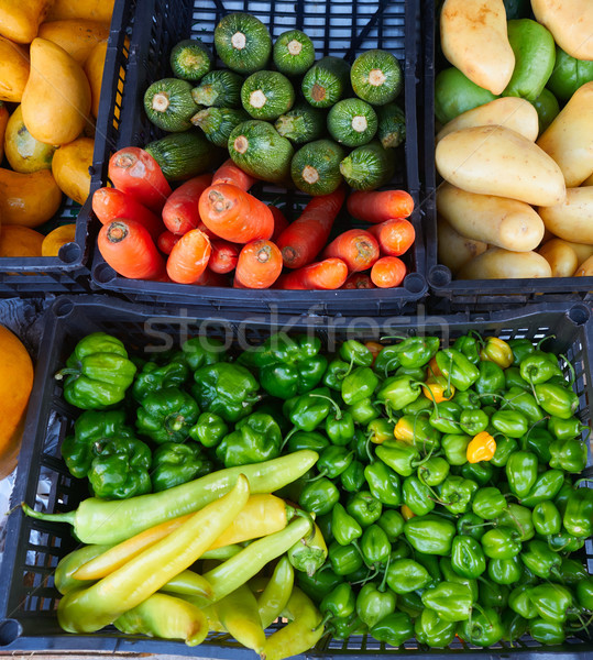 Mexican market vegetables chili carrot potato Stock photo © lunamarina